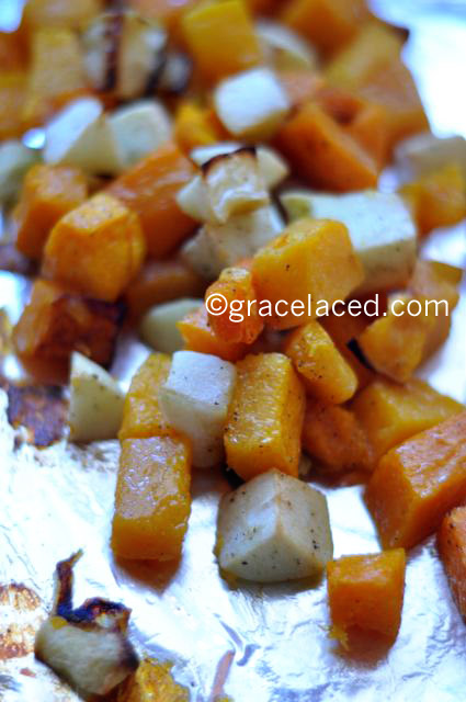 Roasted apples and butternut squash