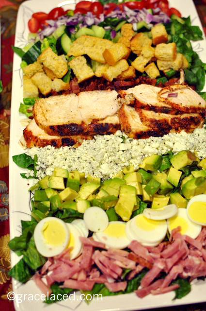 Blackened chicken cobb salads