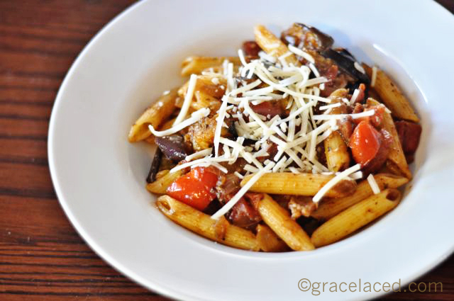 Grilled eggplant, bacon, tomato and basil penne