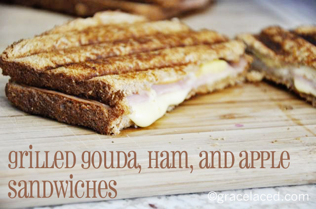 Gouda, ham, and apple sandwiches